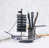 Handmade Iron Sailboat Pen Holder 20cm Iron Crafts Ornaments 3 Styles Optional Creative Gift Handmade Craft