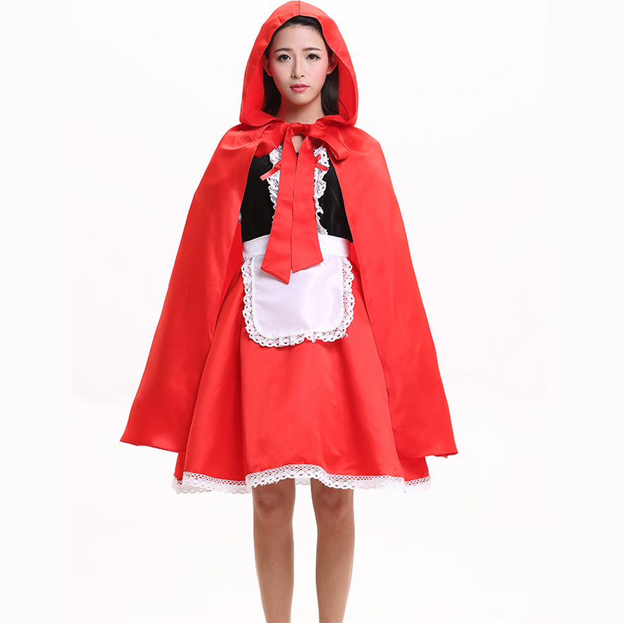 Cute Red Riding Hood Costume Adult Lady's Halloween Cosplay Coustumes Christmas Princess Performance Dress For Women Size M XL