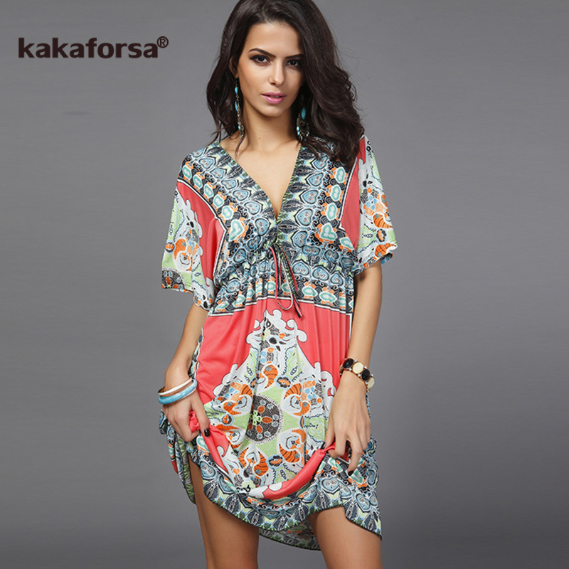Kakaforsa 2018 Sexy Deep V Neck Beach Cover Up Loose Pareo Print Beach Tunic Swimsuit Cover Ups Summer Plus Size Robe De Plage