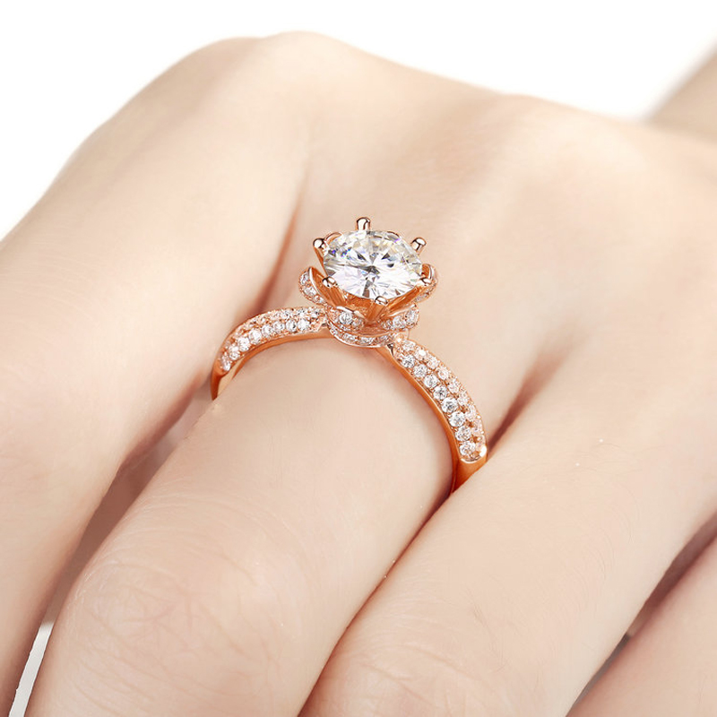 Image 4 - Real Charles Colvard Moissanite Engagement Ring For Women 1 Carat VS G Color Solid 14K 585 Rose Gold Simulated Diamond Accents    -