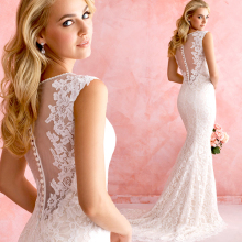 romantic new fashionable sexy long vestido de novia casamento bridal gown vintage mermaid lace wedding dress 2015 free shipping