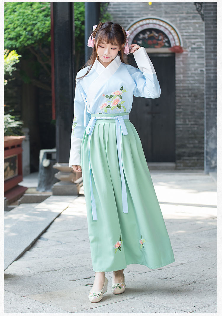 2019 New Women Girls Chinese Ancient Traditional Hanfu Women Fusion Modern Hanbok Tang Dynasty Consum Dress
