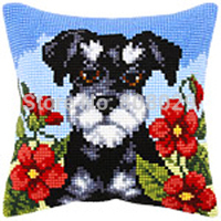 1th CX0195 Long hair Dog Tapestry pillow Crafts Cushion Cross Stitch Printed Case Cross Stitch Kits Tapestry pillow KIT