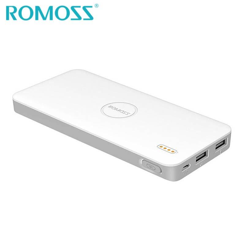 imágenes para Original romoss banco de la energía 10000 mah delgada li-polímero de la batería de reserva externa paquete de 2 de carga usb para iphone 7 plus azul rosa blanco