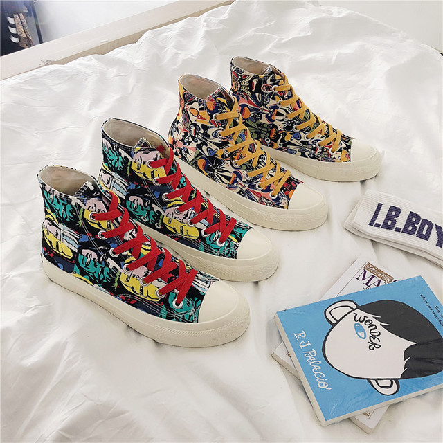2019 summer explosion models Korean canvas shoes mens shoes trend Facebook graffiti high to help shoes2019 summer explosion models Korean canvas shoes mens shoes trend Facebook graffiti high to help shoes