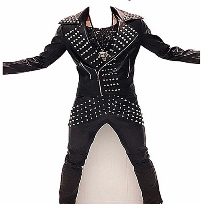 Personalized motorcycle mens leather jacket slim coat men oblique zipper rivet pu jackets stage street dance rock singer street
