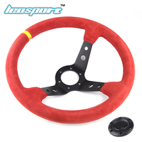 14 (350mm) Steering Wheel red Suede Leather Steering Wheel deep Racing Steering Wheel Comes with horn button logo
