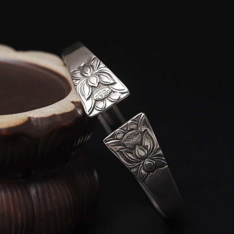 Amxiu Vintage grand Large bracelet ouvert 925 en argent Sterling fleur de Lotus bracelets pour femmes fête des mères cadeau bijoux en or Antique - 2