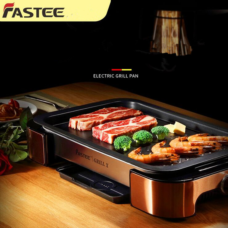 1000W Non-stick  Smokeless Electric Grill BBQ Electric Oven Barbecue And Teppanyaki Suit For 5-8 People For Home And Commercial two premium bbq mats the only non slip never stick no mess dishwasher safe grill sheet you ll ever need perfect for cooking baking and for the barbecue 100