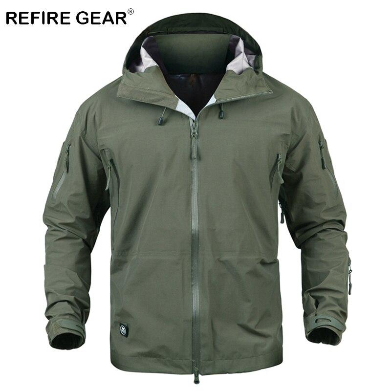ReFire Engrenage Extérieur Imperméable Camouflage Veste Militaire Hommes Coquille Dure Randonnée Coupe-Vent Veste Tactique À Capuche Camping Vestes