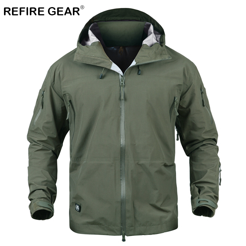 ReFire Gear Outdoor Waterproof Camouflage Military Jacket Men Hard Shell Hiking Windproof Tactical Jacket Hooded Camping Jackets цена и фото