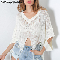 Autumn Women Knit Crop Tops Loose Cotton T Shirt Casual Short Camis Solid Hollow Tops White