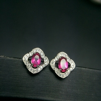 Tested Pink Natural Topaz Stud Earrings for Women, 4*6mm, 925 Sterling Silver, Clover Jewelry with Velvet Box Certificate FR136