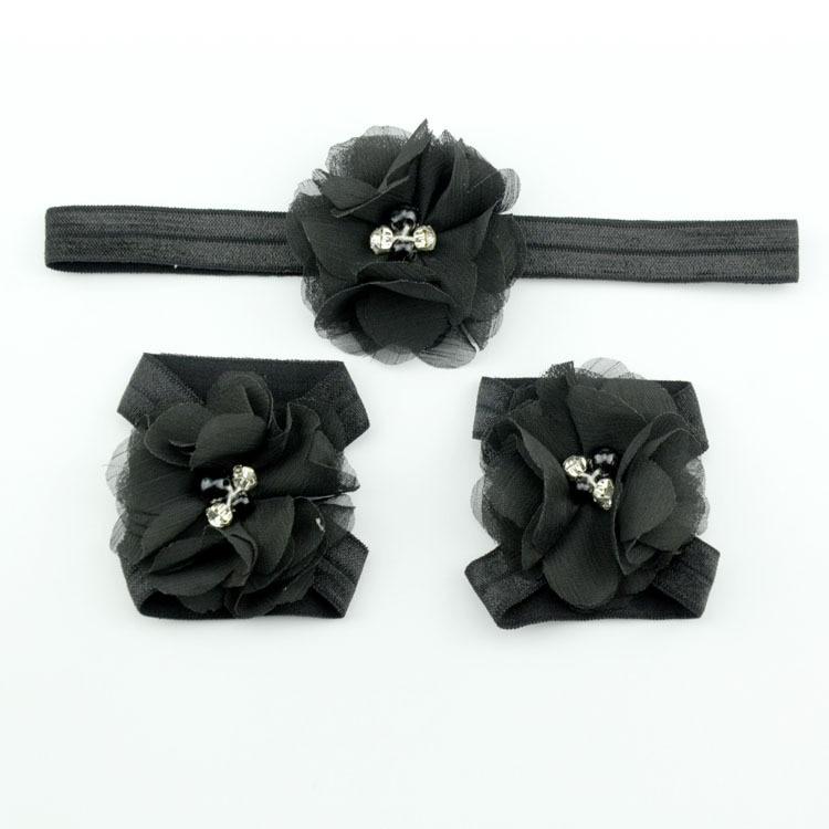 Детская повязка на голову; Детские босоножки ботинки со стразами и цветами; комплект с повязкой на голову; обувь; реквизит для фотосъемки; Детские аксессуары для волос - Цвет: black