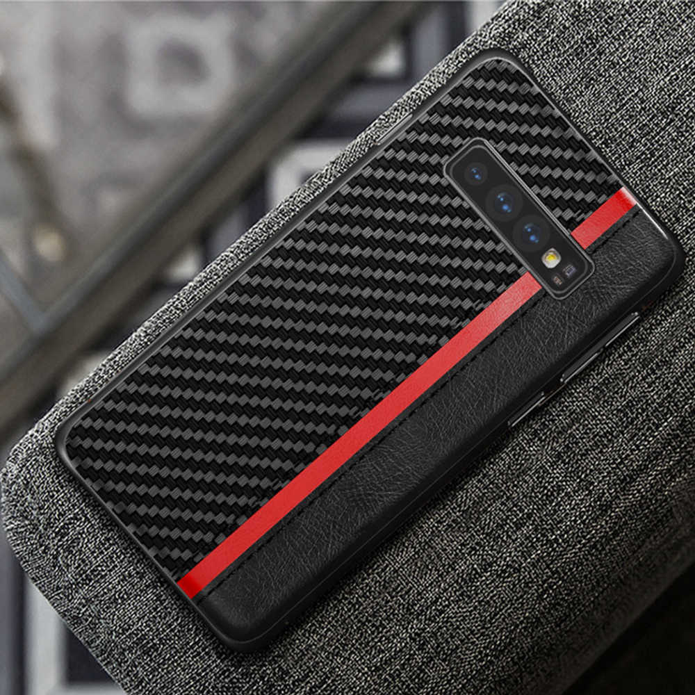 OTAO de lujo de cuero PU caso de teléfono para Samsung Galaxy S10e S10 S9 S8 Plus Nota 8 9 de fibra de carbono de los casos funda de TPU a prueba de golpes