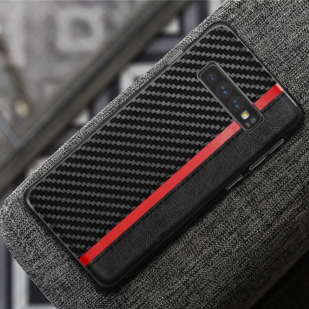 OTAO luksusowy skórzany futerał na telefon pu do Samsung Galaxy S10e S10 S9 S8 Plus uwaga 8 9 obudowa z włókna węglowego odporna na wstrząsy pokrywa TPU Fundas