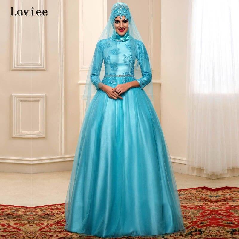 Amazing 3 4 Sleeve Appliques Beads Ice Blue Formal Arabic Dubai Kaftan Evening Dresses 2017 with