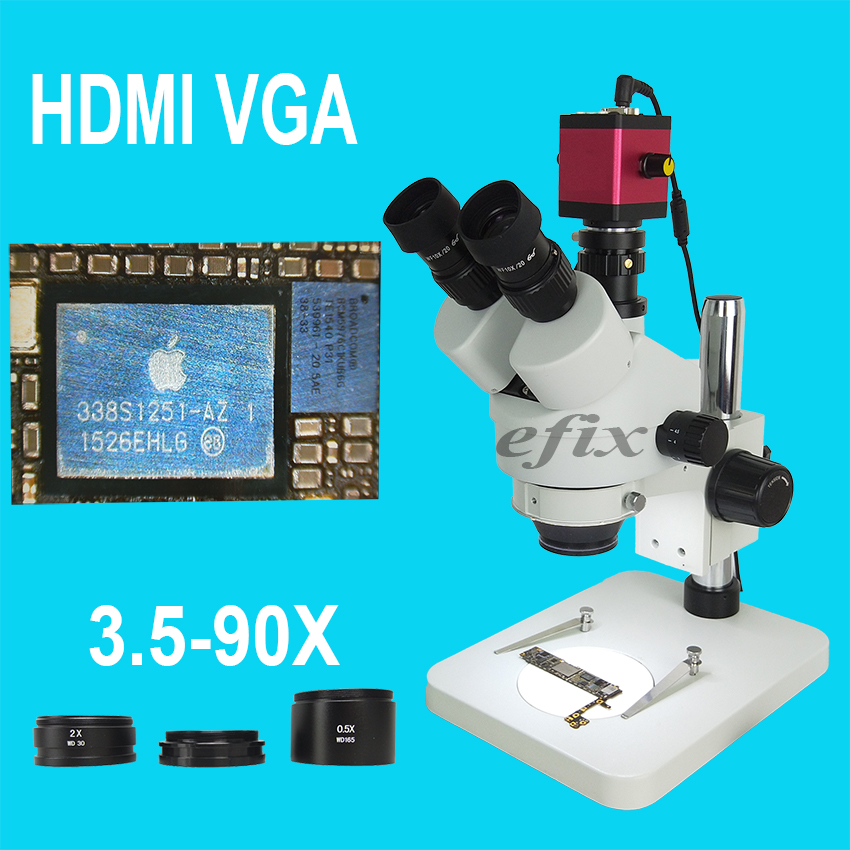 efix 3.5-90X HDMI VGA Trinocular Stereo Zoom Microscope Stand C-Mount Lens Digital Camera Soldering Repair Mobile Phone Tools lucky zoom brand 3 5x 90x stereo trinocular microscope large stand microscope for soldering pcb inspection mobile phone repair