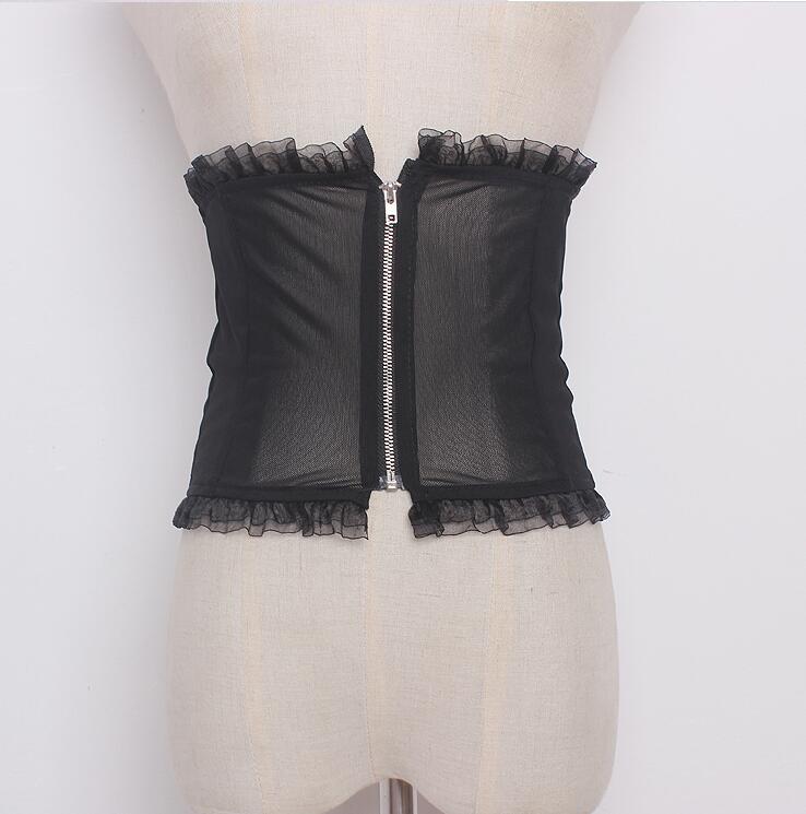Women's Runway Fashion Sexy Perspective Mesh Zipper Cummerbunds Female Dress Corsets Waistband Belts Decoration Wide Belt R1635
