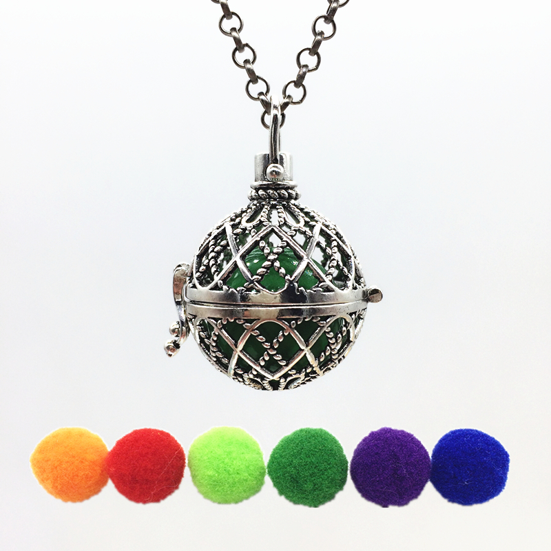 1PC Vintage Silver Hollow Gridding Design Copper Mexico Bola Fragrance Essential Oil Diffuser Pendant Women Necklace Jewelry
