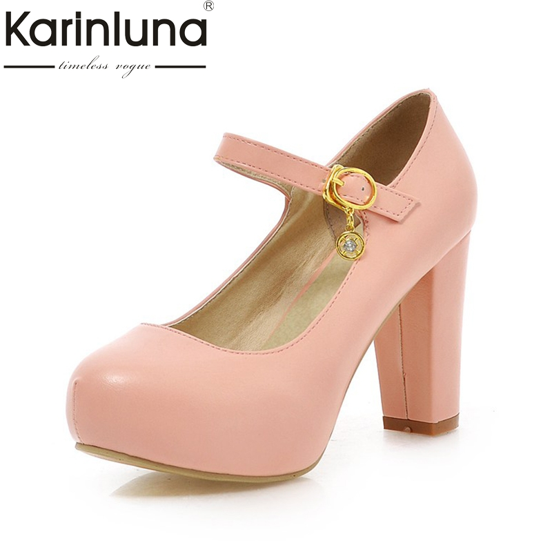 KarinLuna 2018 large size 33-43 Brand 6 Colors Pumps shoes women Platform High Heels spring summer party Shoes woman OL footwear 2016 new pumps ol style thick high heels women shoes with bowtie pu leather shoes woman for spring 3 colors size 35 39 xwd717