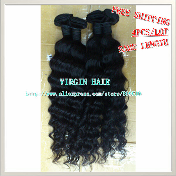 """Same Length 4pcs Best Quality Natural Hair Extension Curly Machine Weaving Hair Weft 14""""-28"""" DHL FREE SHIPPING ring hair"""