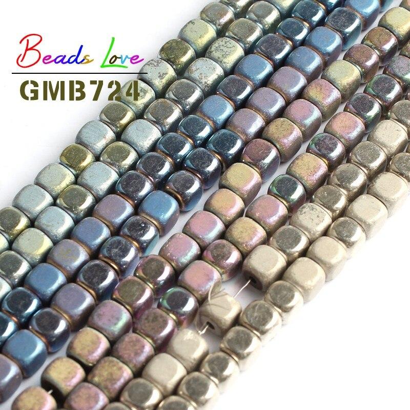 En gros 4mm forme carrée mat hématite pierre entretoise en vrac perles pour la fabrication de bijoux bracelet à bricoler soi-même collier bijoux 15 pouces
