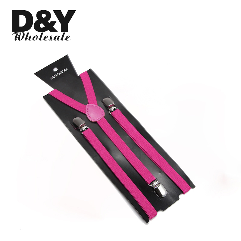 Women Men'S Shirt Suspenders For Trousers Pants Holder 1.5cm Wide Neon Hot Pink Clip-on Elastic Braces Slim Y-back Gallus Gift