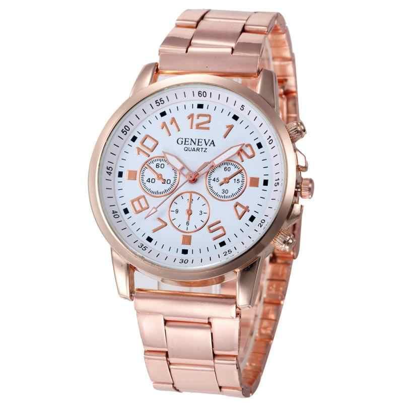 Timazone #502 nueva moda Faux chronógrafo plateado clásico Geneva reloj de cuarzo para mujer cristales relojes de pulsera
