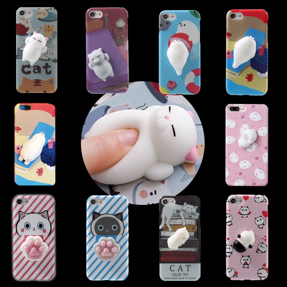 Squishy 3d cat phone case - 3d Cartoon Ushihito Kawaii Squishy Animals Soft Protective Phone Case Cover For Iphone 6 6s Plus