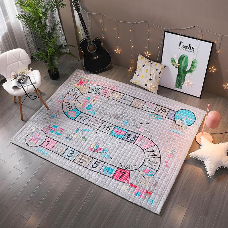 Tapis de jeu bébé coton TREENDPOOL enfants 150x200 CM tapis de jeu Ludo tapis lavables en Machine pour salon/chambre anti-dérapant - 2