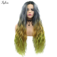Sylvia Dark Root Grey Brown Green/Dark Blue Green Water Wave Lace Front Wig Women Party Heat Resistant Wig Ombre Synthetic Hair