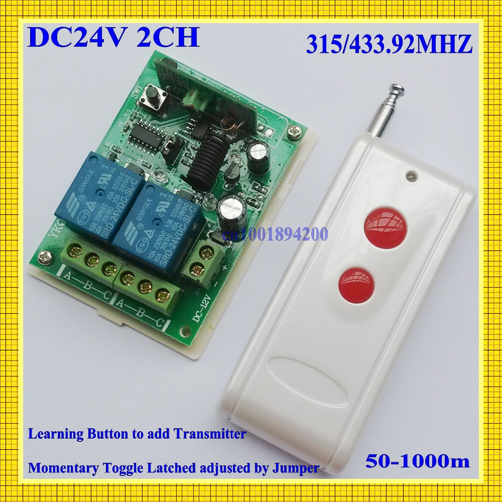 US $13 17 15% OFF|24V DC 2CH Relay Receiver Transmitter Long Range Remote  Control Switch Power Remote ON OFF NO COM NC 315/433 Learning Code RX-in