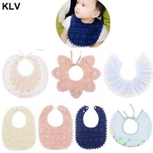 цены Baby Bib Girls Cute Princess Lace Floral Bibs Bandana Saliva Towel Portable Outdoors Feeding Decoration Flower Scarf Newborn