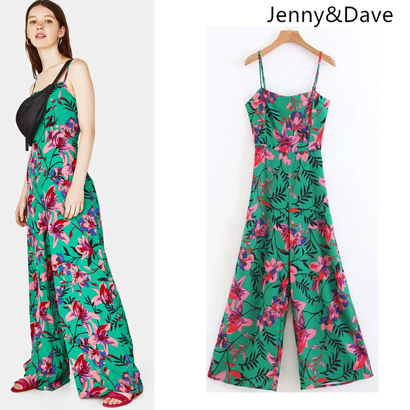 Jenny&Dave jumpsuits feminina natural regular print floral hollow out full pants spaghetti strap women jumpsuits 2018 plus size