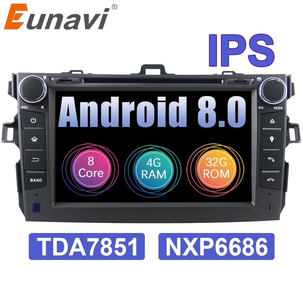 Eunavi 2 din Android 8.0 Voiture lecteur dvd gps pour Toyota Corolla 2007 2008 2009 2010 2011 IPS écran voiture stéréo radio 4G RAM 7851