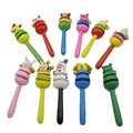 1Pcs Cartoon Animal Baby Rattle Rainbow Educational Toys Handle Wooden Activity Bell Stick Shaker Rattles Baby Gift Juguete