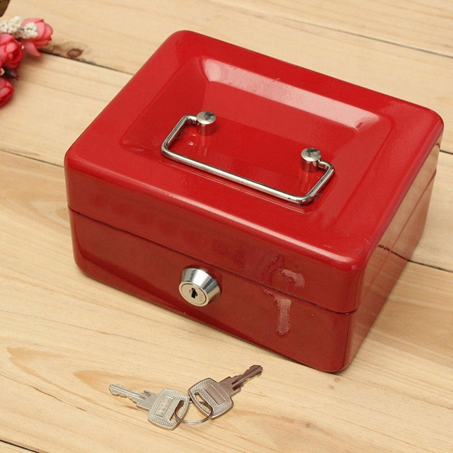 stainless steel metal petty cash box lock bank deposit safe key