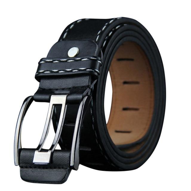 Mens Leather Smooth Girdle Buckle Waistband Waistband Leisure Belt Strap 116