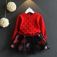 2018 Spring New Korean Children's Wear Knitted Long Sleeve Dress Girl Princess Dress Cute Tarpaulin Dress