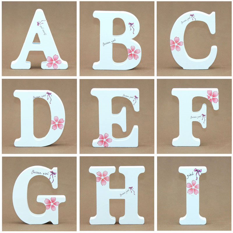 1pcs 10X10CM White Wooden Letters English Alphabet Word Name Design Creative Art Craft Free Party Wedding Wood Letters DIY