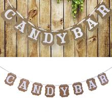 Kraft Paper Cardboard Bunting Banner Party Pull Flowers For Wedding Birthday Customized CANDY BAR Letters Hanging Flag
