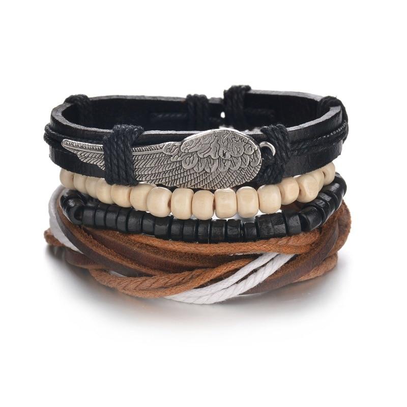 L J Vintage Punk Leather Bracelet Fashion Multilayer Wing Beads Bracelets & Bangles For Women Girl Party Gifts Pulseras Mujer