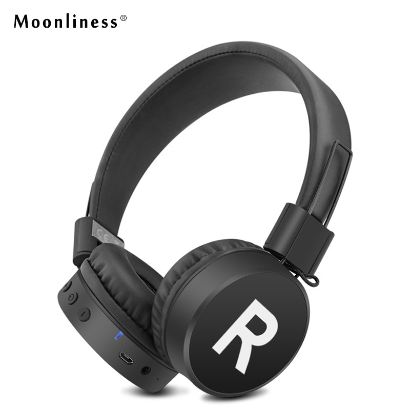 Moonliness Wireless Ear Headphone Super Bass Wireless Headset Handsfree Foldable Bluetooth Headphone Built-in Microphone mymei 2016 new wireless bluetooth handsfree headset super bass music player headphone with microphone tf card slot for smartphones