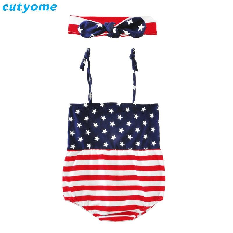 Cutsome Baby Girls Romper czwartego lipca Odzież Outfit Infantil bez - Odzież dla niemowląt - Zdjęcie 2