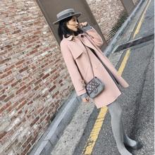 Шерстяное женское длинное пальто Осень Зима Новое одноцветное двубортное свободное Женское шерстяное пальто большого размера LQ154