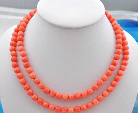 "huij 004902 2strands 19""8mm nature round pink coral bead necklace"