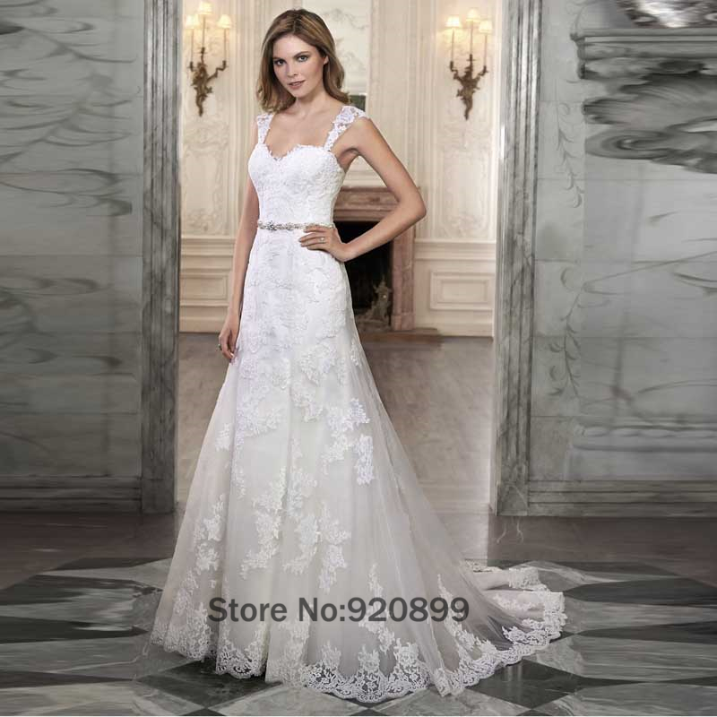 White Vintage Wedding Gowns Lace With Removable Sleeve A Line ...