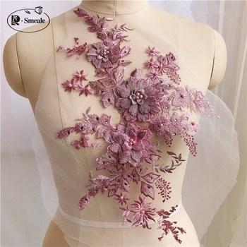e2c35c6ff Parches de cuentas de diamantes de imitación de letra de flor Rosa hechos a  mano para ropa coser en parches bordados apliques bordados para la ropa