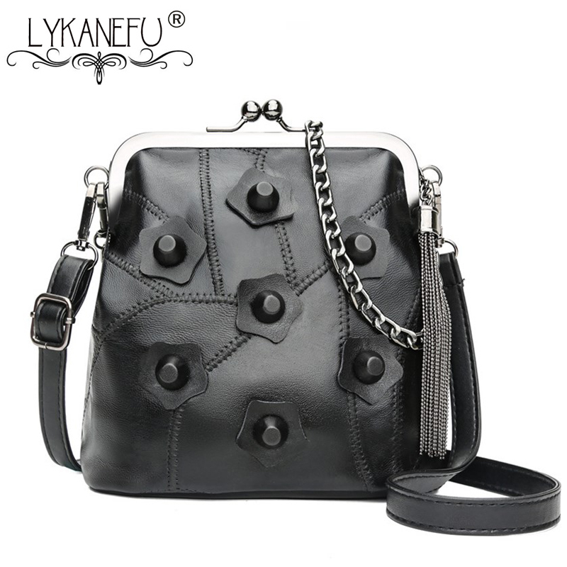 7f3540159e66 LYKANEFU Genuine leather Women Bag Rivet Frame Women Messenger Bags Lady  Clutch Purse Handbag Shoulder Cross